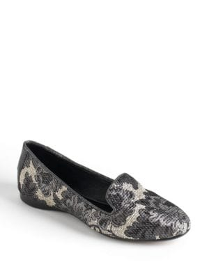 Denda Floral Print Smoking Flats by Donald J Pliner