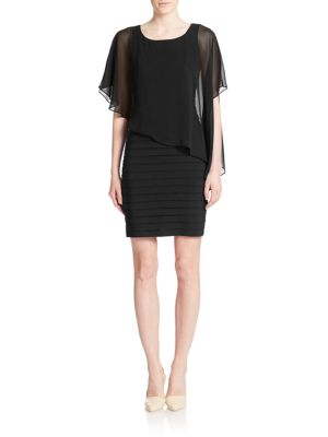 Asymmetrical Overlay Sheath Dress by Adrianna Papell