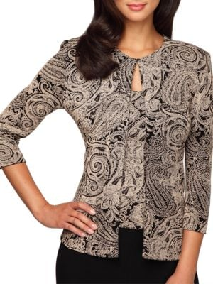Glittery Paisley Print Twinset by Alex Evenings