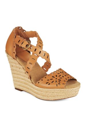 Laila Perforated-Calfskin Wedge Sandals by AERIN