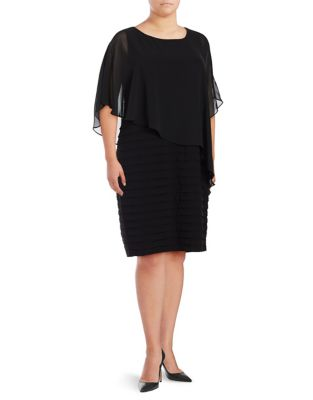 Plus Asymmetrical Cape Dress by Adrianna Papell