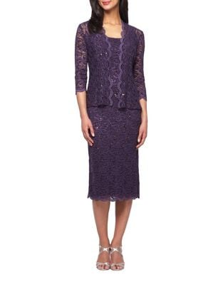 Sequined Lace Jacket and Dress Set by Alex Evenings