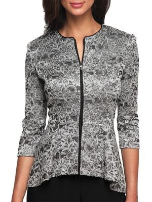 Three Quarter Print Peplum Jacket by Alex Evenings