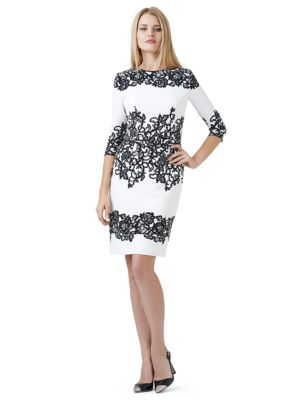 Floral Accented Shift Dress by Adrianna Papell