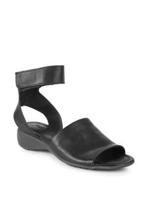 Beglad Leather Wedge Sandals by The Flexx