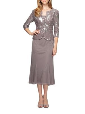 Plus Tea-Length Dress with Sequined Jacket by Alex Evenings