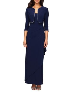 Jersey Side Draped Gown with Bolero Jacket by Alex Evenings