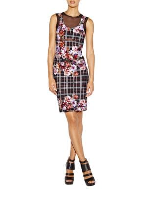Floral Plaid Alternative Powernet Dress by Nicole Miller