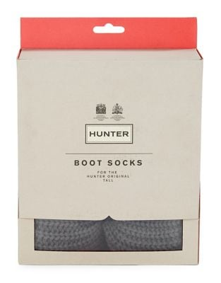 Ribbed-Cuff Fleece Welly Socks by Hunter