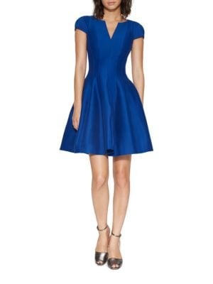 Cap-Sleeve Sateen Dress by Halston Heritage