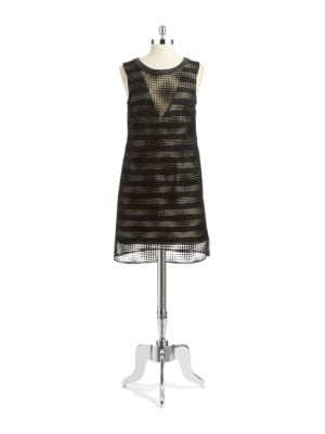 Polka Dot Overlay Shift Dress by A.B.S. By Allen Schwartz