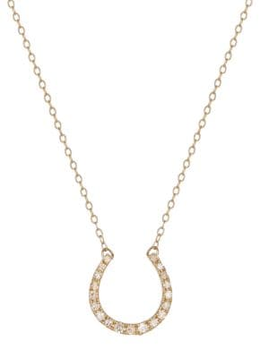 14K Yellow Gold and Diamond Horse Shoe Necklace 500077356970