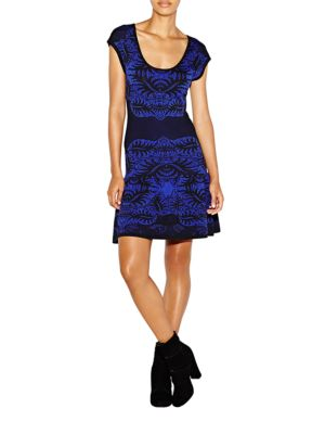 Double Knit Placed Leaf Print Fit and Flare Dress by Nicole Miller