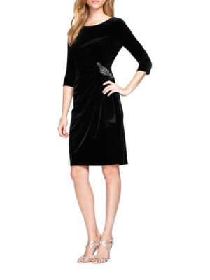 Velvet Beaded Side Ruched Dress by Alex Evenings