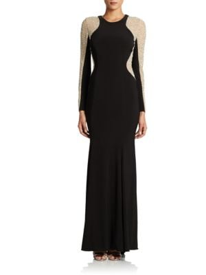 Long Sleeved Beaded Gown by Xscape