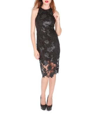 Lace and Faux Leather Sheath Dress by Alexia Admor