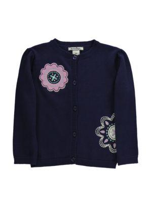 Baby Girls Flower Applique Cotton Cardigan