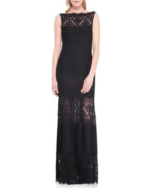 Lace-Trimmed Sleeveless Mermaid Gown by Tadashi Shoji