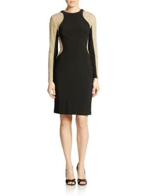 Beaded Long Sleeve Sheath Dress by Xscape