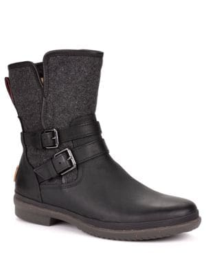 Simmens Leather & Felt Shearling-Lined Boots by UGG