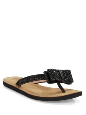 Icarda Glittered Leather Thong Sandals by Kate Spade New York