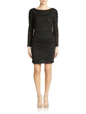 Ruched Beaded Dress by Belle Badgley Mischka