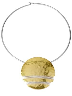 Two-Tone Hammered Disc Necklace 500079242442