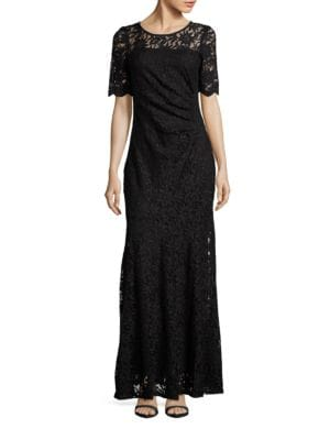 Lace Short Sleeve Mermaid Gown by Decode 1.8