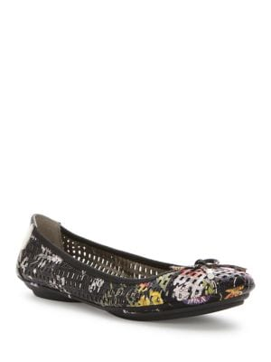 Farrah Laser-Cut Leather Flats by Me Too