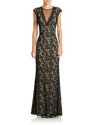 Illusion V-Neck Lace Gown by Betsy & Adam