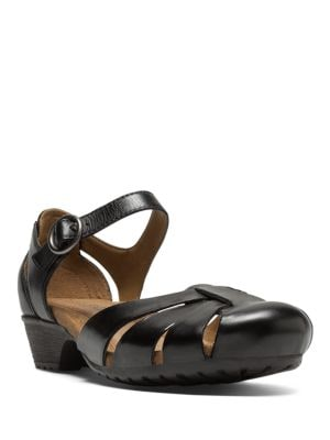 Gina Black Leather Flats by Rockport Cobb Hill