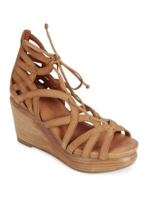 Joy Nubuck Leather Platform Wedge Sandals by Gentle Souls