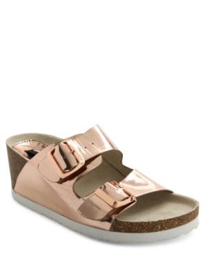 Metallic Open-Toe Wedge Sandals by Kensie