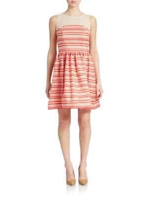 Striped Fit and Flare Dress by Taylor