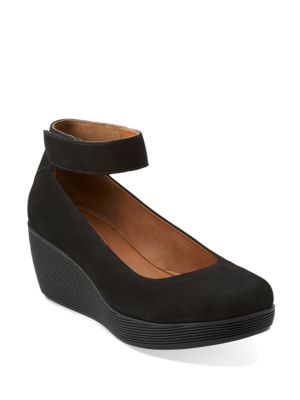 Claribel Fame Leather Mary Jane Platform Wedge Loafers by Clarks