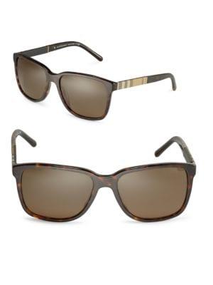 58MM Check-Print Wayfarer Sunglasses by Burberry