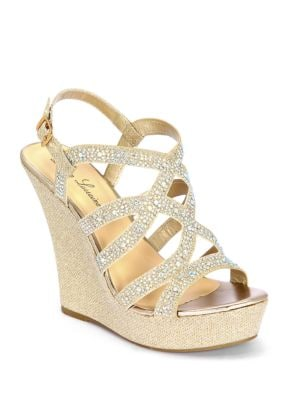 Nonie Metallic Embellished Wedge Sandals by Lauren Lorraine