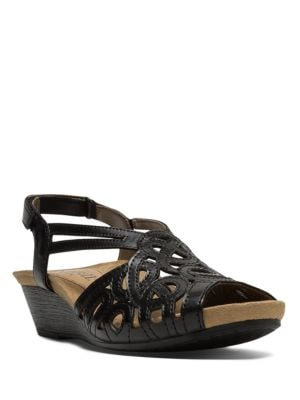 Helen Leather Wedge Sandals by Rockport Cobb Hill