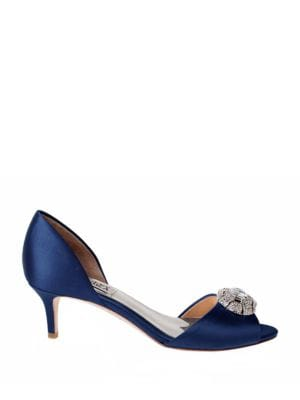 Petrina Satin Brooch Peep-Toe Pumps by Badgley Mischka