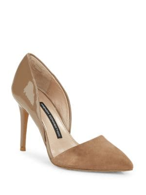 Elvia Leather & Suede D'Orsay Pumps by French Connection