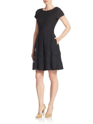 Mesh Panel Fit and Flare Dress by Taylor