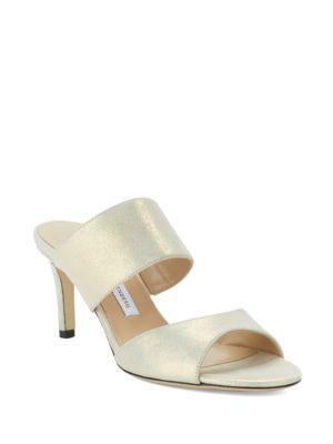 Keri Metallic Suede Mule Sandals by Diane von Furstenberg