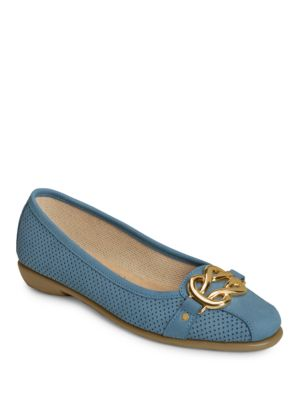 High Bet Hardware Perforated Leather Flats by Aerosoles