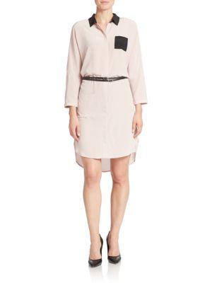 Faux-Leather Detail Silk Shirtdress by Shirtdress