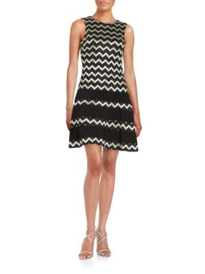 Metallic Zigzag Striped Dress by Betsy & Adam