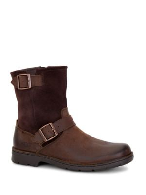 Messner Shearling-Lined Leather Moto Boots by UGG