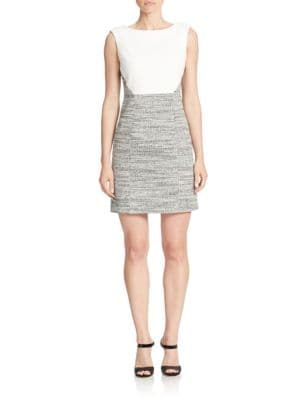 Sleeveless Tweed Sheath Dress by 4.collective