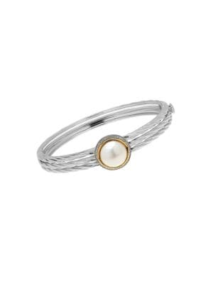 11-12MM White Freshwater Pearl, Diamond and Two-Tone Hammered Ring 500083297069