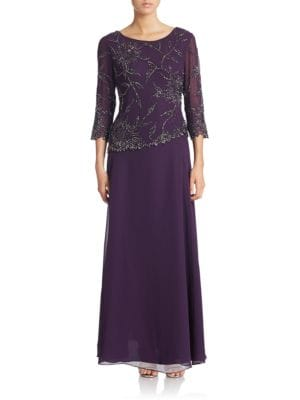 Floral Lace Popover Gown by J Kara