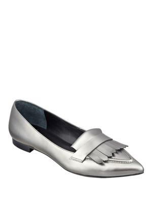Susan Metallic Leather Point-Toe Loafers by Marc Fisher LTD